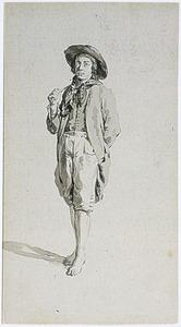 Staande jongeman met hoed en blote voeten