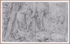 Twee vrouwen met manden en putto in een landschap, rechts een feestmaal
