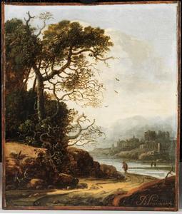 Bebost landschap met een wandelaar op een zandweg