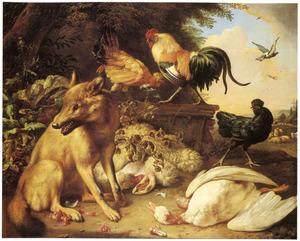 Vos en pluimvee bij een dode eend en een dood schaap in een landschap