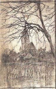 St. Jacobskerk met boom rechts