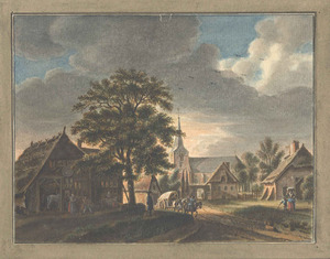 Herwen, gezicht in het dorp met de kerk bij avond