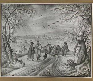Winterlandschap met slede en schaatsers, in de verte een stad