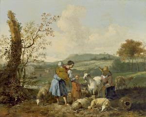 Zuidelijk landschap met twee herderinnen bij het melken