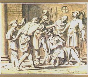 De doornenkroning en de  bespotting van Christus (Mattheüs 27:27)