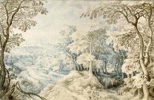 Boslandschap met een dorp en een beek
