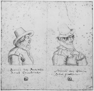 Portretten van Antonie Schouten van Amersfoort (?-1621/'23) en Frans Viruly (1594-1623), leden van de Schildersbent in Rome