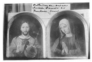 Christus als Salvator Mundi (links); Biddende Maria (rechts)