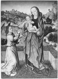 Madonna staand in een berglandschap met een engel die een bloem aanbiedt