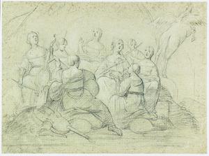 Musicerende muzen en Pegasus op de Parnassus