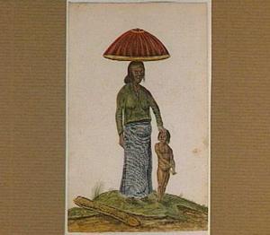 Oost-Indische vrouw met kind, op haar hoofd een mand