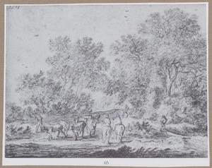 Boslandschap met twee ruiters en herders met vee