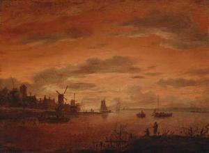 Zonsondergang boven een hollands rivierlandschap