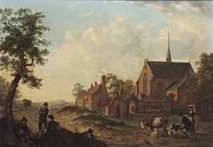Landschap met reizigers en herders bij een dorpskerk