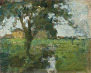 Farm setting with foreground tree and irrigation ditch
