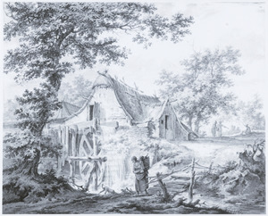 Landschap met watermolen en boerin met mand
