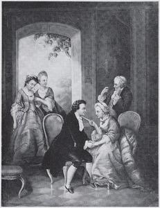 Een cavalier vraagt aan een echtpaar om de van de hand van hun dochter. De bruid staat met haar zus geïntimideerd in de deuropening naar de tuin.