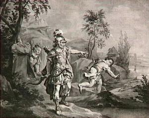 Jonatan schiet zijn pijl, terwijl David zich verbergt; een jongen loopt de pijl achterna  (I Samuël 20:36-42)