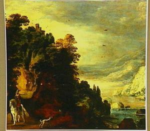 Berglandschapachtig rivierlandschap met kasteel en twee ruiters