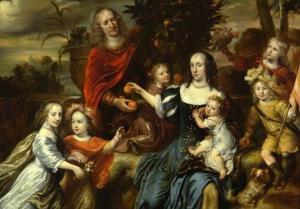 Portret van een echtpaar met zes kinderen, mogelijk de familie van Servaes Auxbrebis