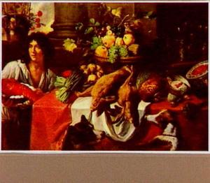 Tafel met jachtbuit en mand met vruchten; links een jonge man met een kreeft