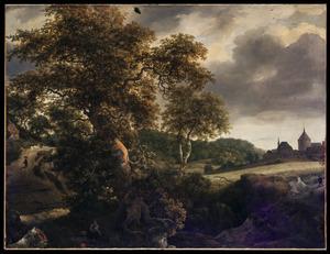 Heuvellandschap met grote eik, korenveld en kasteel