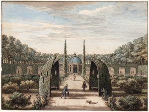 Het park van het Huis Heemstede bij Houten, gezien in de richting van de schelpengrot
