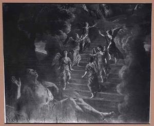 De droom van Jacob: engelen dalen uit de hemel af naar de aarde en vice versa via een trap (Genesis 28:10-22)