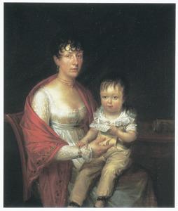 Dubbelportret van een onbekende vrouw met haar zoon