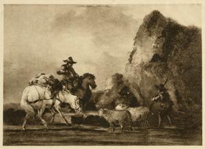 Italianiserend landschap met ruiter en kudde bij drinkbak