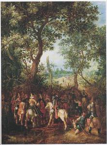 Wachtende soldaten te paard bij een bosrand