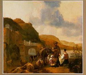 Italiaans landschap met herders en vee; op de achtergrond een stad aan een rivier