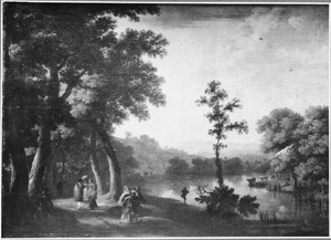 Landschap met reizigers op een pad langs de oever van een rivier