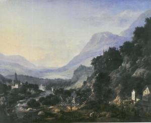 Bergachtig rivierlandschap met figuren
