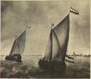 Zeilschepen op rustig water; rechts in de achtergrond een kerk