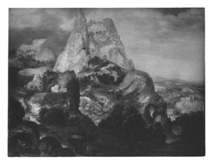 Berglandschap (La Sainte-Baume) met de boetende Maria Magdalena