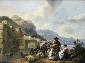 Italianiserend landschap met een herder met zijn vee bij een rivier