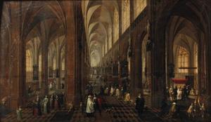 Interieur van de Onze Lieve Vrouwekathedraal in Antwerpen met elegante figuren