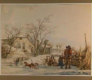 Winterlandschap met figuren bij een verkoopster op het ijs