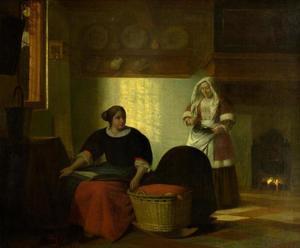 Interieur met twee vrouwen bij een wieg