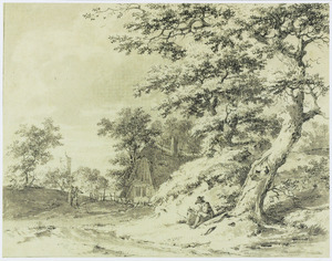 Heuvelachtig landschap met zittende man bij boom