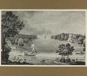 Kasteel Schoonenberg in Laken gezien vanuit het zuiden, op de voorgrond de Senne, met het statiejacht van hertog Albert van Sachsen-Teschen