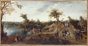 Landschap met ruiters en wandelaars, op de achtergrond links de toren van de Grote Kerk van Den Haag en rechts mogelijk die van Rijswijk