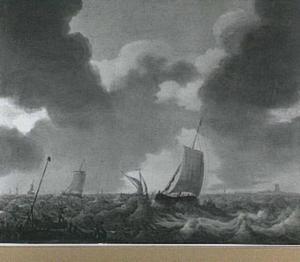 Visserspink en andere vaartuigen op een woelig water; rechtsachter het silhouet van een toren