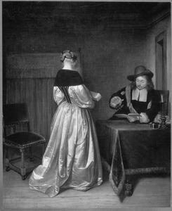 Interieur met een jonge vrouw met een muziekboek en een man die de maat slaat