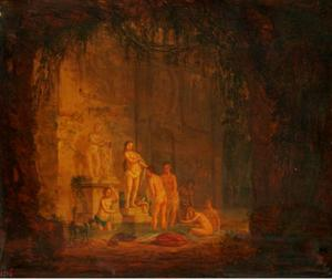 Grot met fontein met badende vrouwen