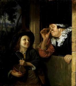 Jonge rommelpotspeler en een oude vrouw
