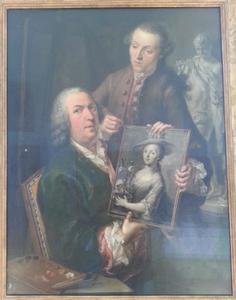 Portret van Joseph Weiss (1699-1770) met zijn schoonzoon Dominikus Aulicek en een grisalle-portret van zijn dochter Maria Josepha