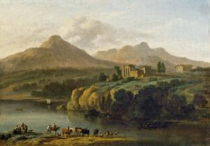 Weids berglandschap met klassieke ruïnes