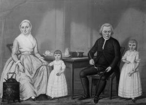 Portret van Philippus Bisschop (1757-1829), Johanna Harmsen (1758-1830) en hun kinderen
